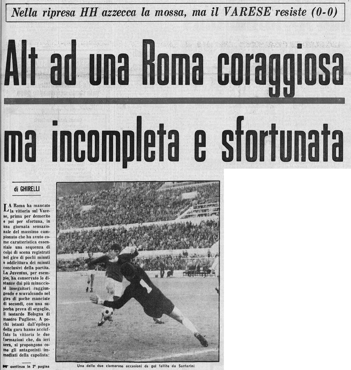 Almanacco Giallorosso - Roma-Varese - Campionato 1971/1972